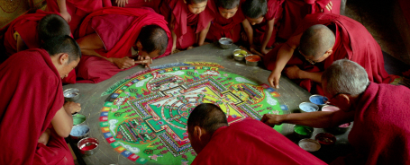 Sand mandala at Thiksey monastery, still from the film Samsara